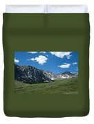 Snow And Mountains And Grass Duvet Cover