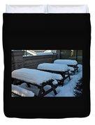 Snow Benches Duvet Cover