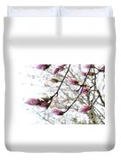 Snow Capped Magnolia Tree Blossoms 2 Duvet Cover