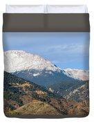 Snow Capped Pikes Peak Colorado Duvet Cover