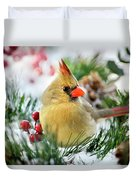 Snow Cardinal Duvet Cover