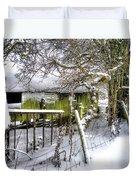 Snow Covered Barn Duvet Cover