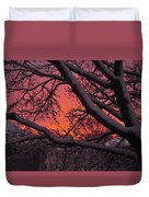 Snow Covered Branches At Sunset Duvet Cover