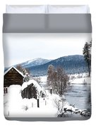 Snow Covered Cabin Duvet Cover