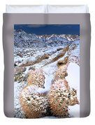 Snow Covered Cactus Below Mount Whitney Eastern Sierras Duvet Cover