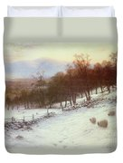 Snow Covered Fields With Sheep Duvet Cover
