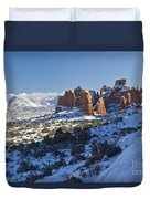 Snow-covered Fins And La Sal Mountains Duvet Cover