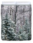 Snow-covered Forest, Wisconsin, Usa Duvet Cover