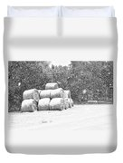 Snow Covered Hay Bales Duvet Cover