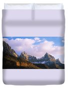 Snow Covered Mountain Range, The Duvet Cover