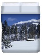 Snow Covered Trees And Cabin At Rock Duvet Cover