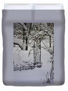 Snow Covered Wisteria Arch Duvet Cover