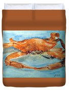 Snow Crab Is Ready Duvet Cover