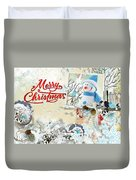 Snow Day Christmas Card Duvet Cover