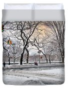 Snow Day On 5th Avenue Duvet Cover