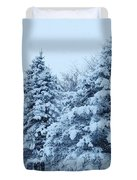 Snow Flocked Pines Duvet Cover