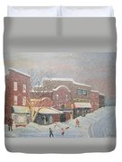 Snow For The Holidays Painting Duvet Cover