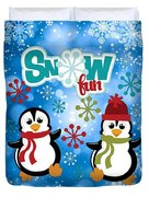 Snow Fun Penguins Duvet Cover