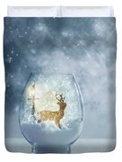 Snow Globe For Christmas With Reindeer Duvet Cover