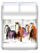 Snow Horses Duvet Cover