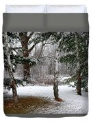Snow In Pines Duvet Cover