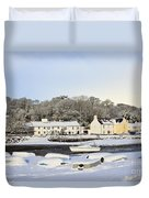 Snow In Red Wharf Bay Wales Duvet Cover