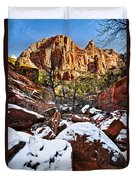 Snow In The Canyons Duvet Cover