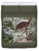 Snow In The Pines Duvet Cover