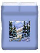 Snow Laden Pines Duvet Cover