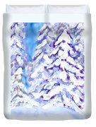 Snow Laden Trees Duvet Cover