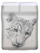 Snow Leopard - Intent Duvet Cover