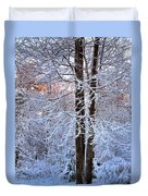 Snow Maple Morning Duvet Cover