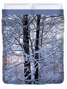Snow Maple Morning Landscape Duvet Cover