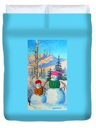 Snow Mom And Son Duvet Cover