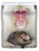 Snow Monkey Love Duvet Cover