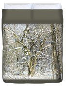 Snow On A Hedge Tree Duvet Cover