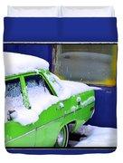 Snow On Car Duvet Cover