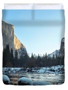 Snow On Large Rocks With El Capitan In The Background Duvet Cover