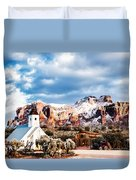 Snow On The Superstitions Duvet Cover