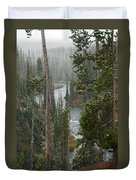 Snow On The Yellowstone River Duvet Cover