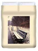 Snow Park Bench Duvet Cover