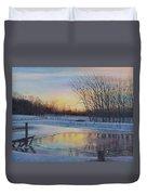 Snow Scene At Sunset Duvet Cover