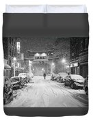 Snow Storm In Chinatown Boston Chinatown Gate Black And White Duvet Cover