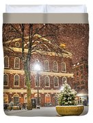 Snow Storm In Faneuil Hall Quincy Market Boston Ma Duvet Cover