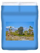 Snow-topped Mountains From Tahquitz Canyon Way In Palm Springs-california  Duvet Cover