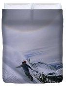 Snowboarding Down A Peak In Yosemite Duvet Cover