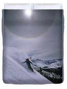 Snowboarding Down A Peak In Yosemite Duvet Cover