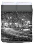 Snowfall In Harvard Square Cambridge Ma 2 Black And White Duvet Cover