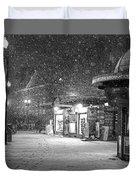 Snowfall In Harvard Square Cambridge Ma Kiosk Black And White Duvet Cover