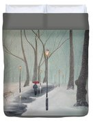 Snowfall In The Park Duvet Cover